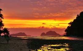 Puesta de sol en Cabañas, Palawan