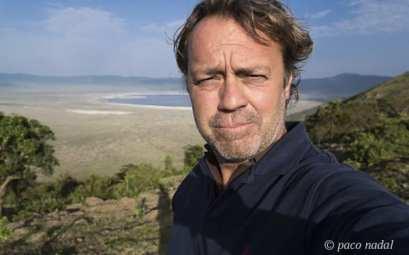 Paco Nadal en el cráter del Ngorongoro
