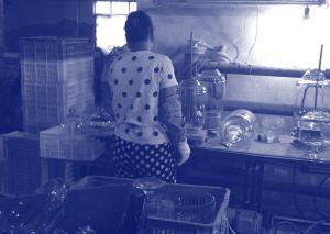 Glass factory worker