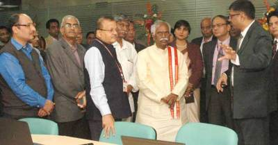Labour Minister Bandaru Dattatreya at EPFO office in New Delhi.