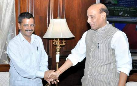 Delhi CM Arvind Kejriwal with Union Home Minister Rajnath Singh. Kejriwal has criticised the move saying that it was done to prevent Delhi government from forming an effective SIT.