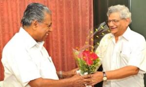 CPIM General Secretary Sitaram Yechury congratulating Pinarayi Vijayan.