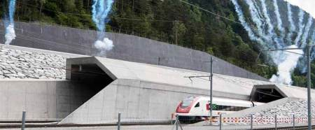 The first train crosses the Gotthard tunnel on June 01, 2016.