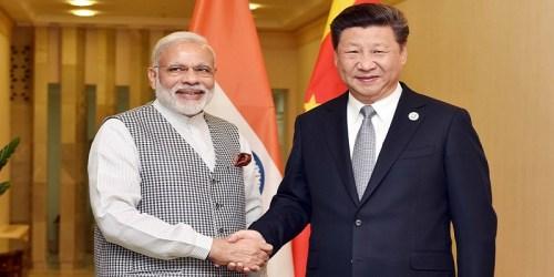 Prime Minister Narendra Modi with Chinese President Xi Jinping in Tashkent, Uzbekistan.