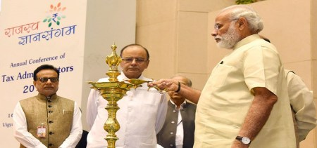 File Photo: Prime Minister Narendra Modi with Finance Minister Arun Jaitley at an event to interact with tax administrators in New Delhi.