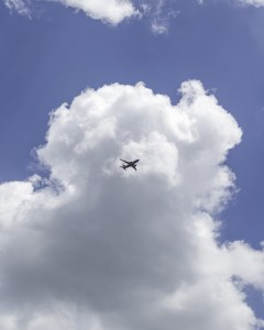 Commercial Jet in Clouds