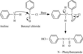 Write chemical reaction of aniline with benzoyl chloride an