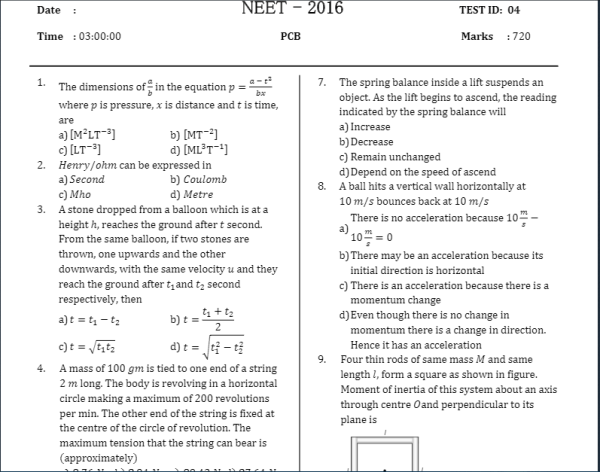 NEET 50 Question Papers