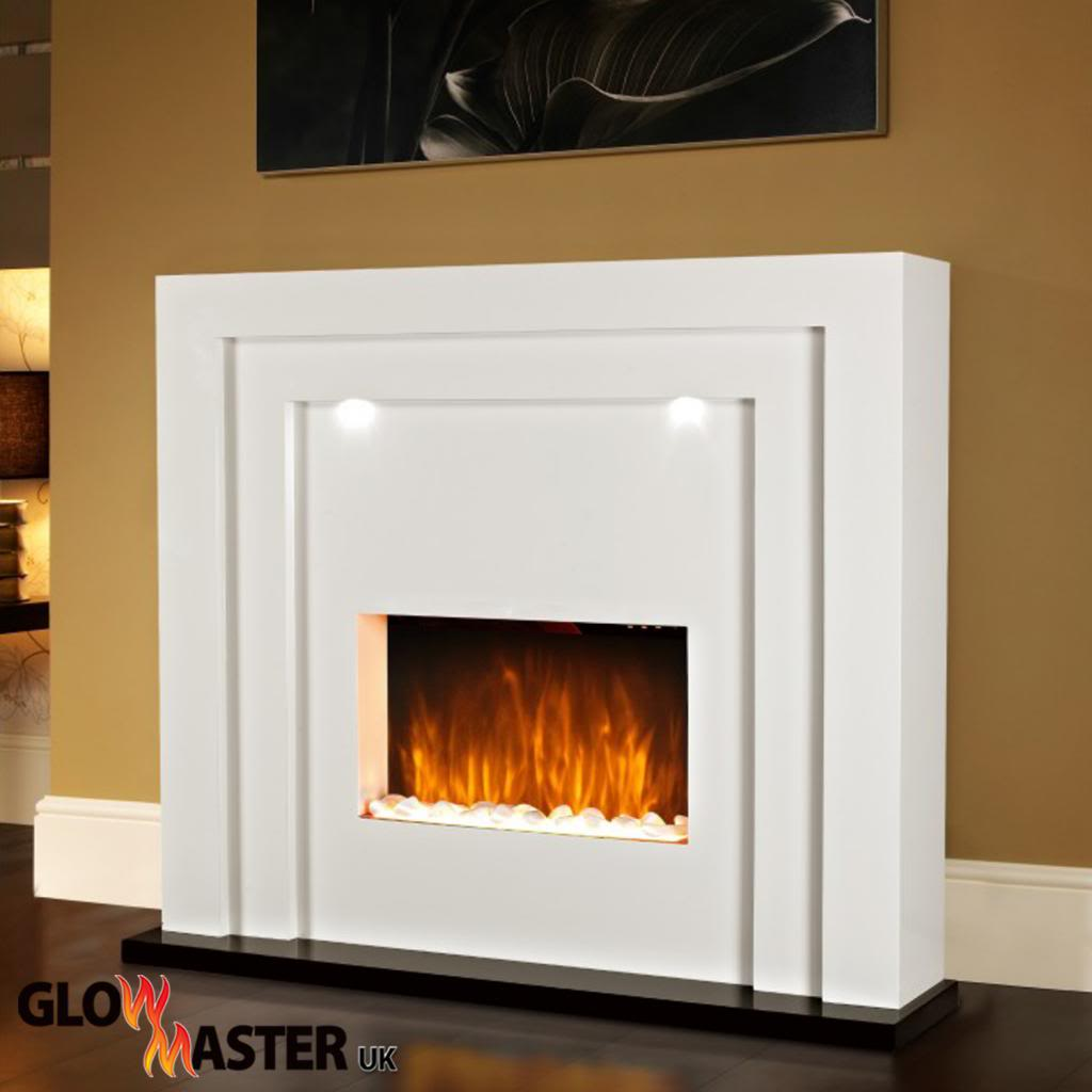 Electric Fire Fireplace Led Lights Free Standing White