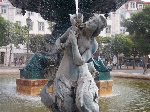 One of the Mermaid Statues in the Rossio Square fountains in Lisbon.