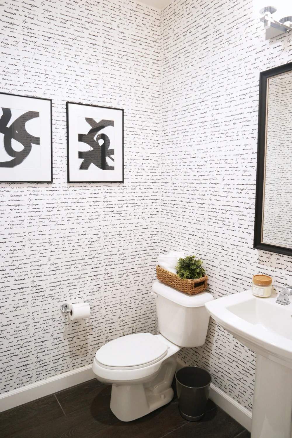 Wallpapering the Powder Room + A How