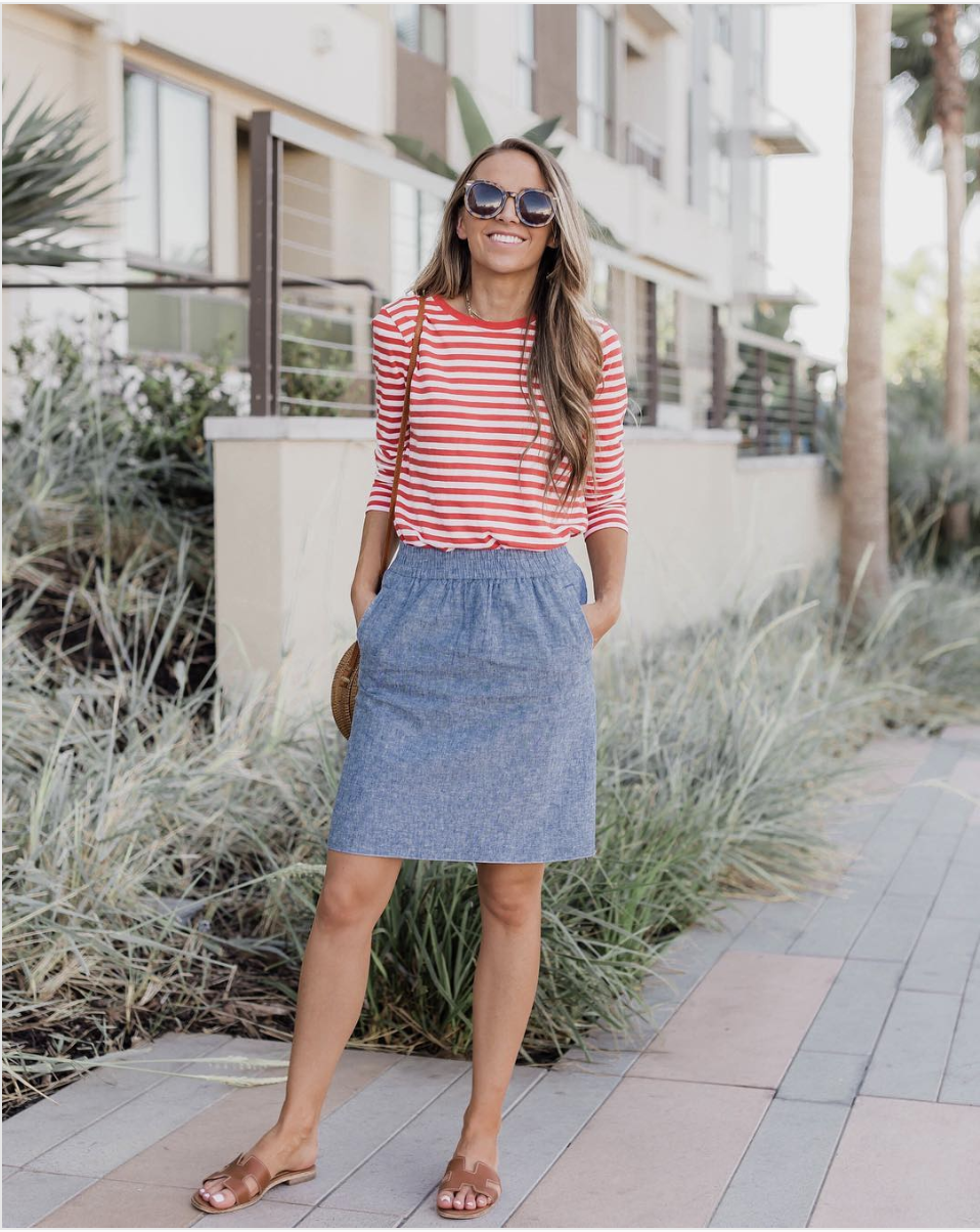 chambray skirt and red stripe top