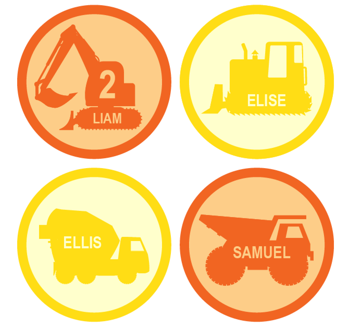 Personalized Construction Vehicles Printable For Construction Hats Birthday Party Favors