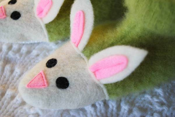 Fuzzy Bunny Slippers Free Sewing Pattern - Merriment Design