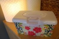 Custom fabric-covered Huggies baby wipes popup tub ...