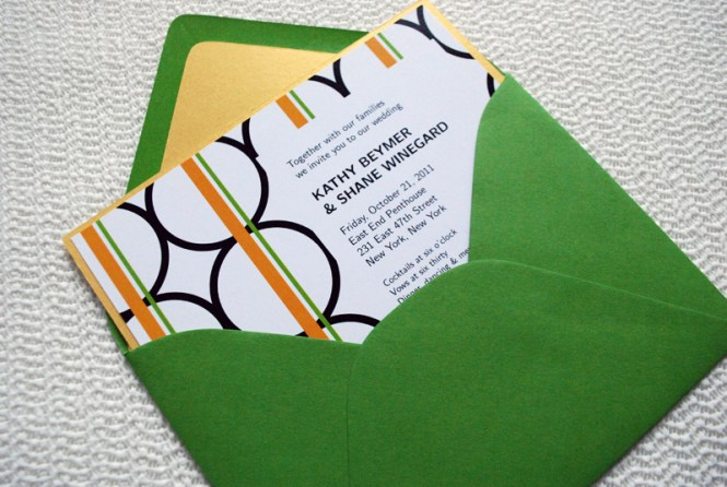Chic Lime Green Wedding Invitations With Fl Sash 98