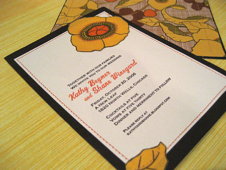 Merriment :: Sewn invitations with fabric on back and front by Kathy Beymer