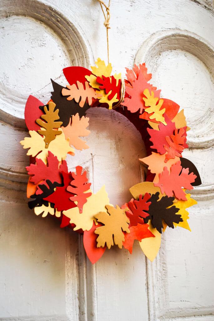 Paper And Fabric Leaf Fall Wreath Merriment Design