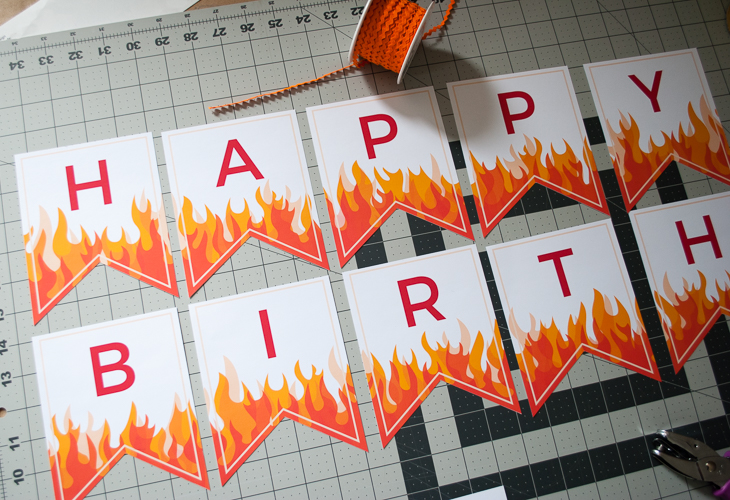 Personalized Fire And Flames Printable Happy Birthday