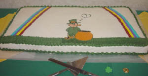 party food example - Linette's cake photo from her Irish party