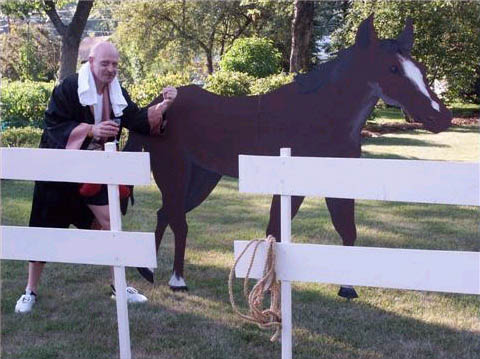 Theresas photo of the horse and fence and the boxer from her Fame, Money and Murder party