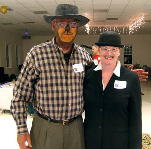 A photo of Papa Bear and Dr Watson from Traci's Mystery In The Library party