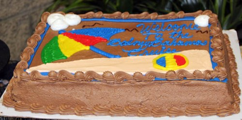 A photo of the cake from Sally's Balmy Bahamas party