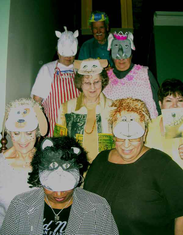 A photo of the animal hats from Marte's Crazy Clown Car Caper party