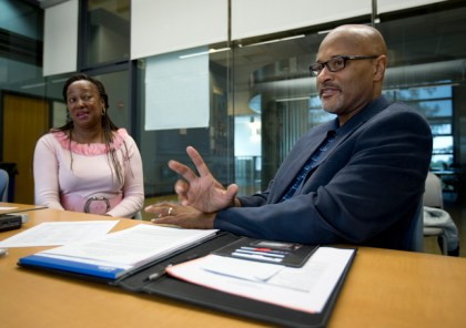 Margaret Dixon, left, department chair of Administration of Justice at Merritt College, and Howard Jordan, former chief of police for the Oakland Police Department, talk about Jordan's new law enforcement pre-academy training program at the college, Thursday, Aug. 20, 2015, in Oakland, Calif. (D. Ross Cameron/Bay Area News Group)