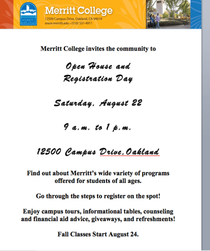 Open House Flyer for Community