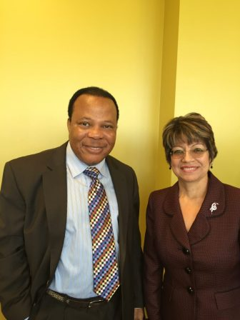 Vice Chancellor of General Services Dr. Sadiq Ikharo and President Norma Ambriz-Galaviz
