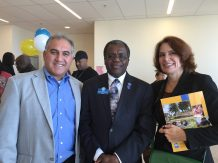 Chancellor Jowel Laguerre with Mimi Rohr of Bay Area News Group and a member of Laney's construction management faculty.