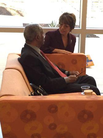 Merritt President Norma Ambriz-Galaviz shares a moment with former President Robert Adams.