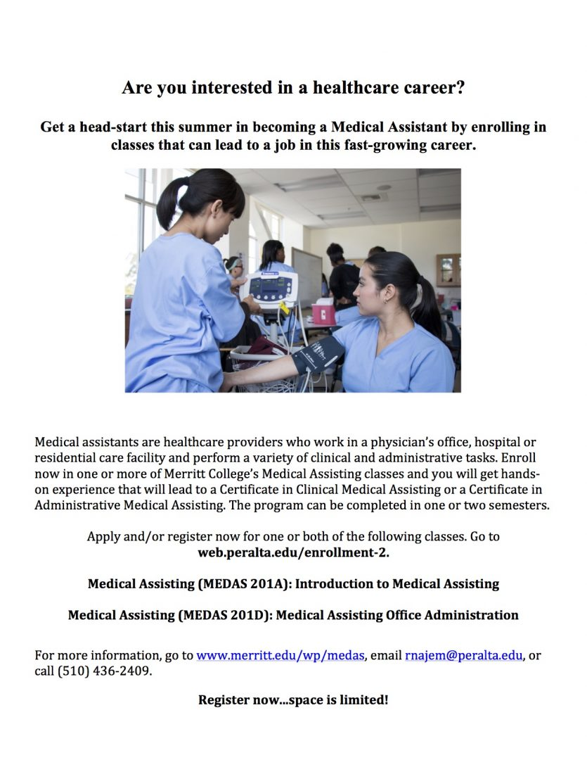 Looking for a career in health care? Take Medical Assisting 201D ...