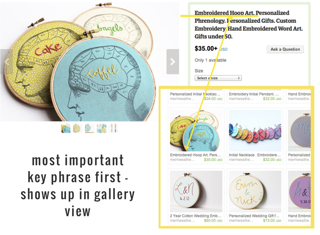 Basic Etsy SEO tips from the merriweather council. Use keywords at the beginning of product titles for best SEO.   the merriweather council blog