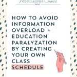 How to Avoid Information Overload + Education Paralyzation by Creating Your Own Class Schedule