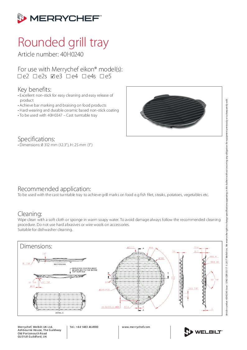 hight resolution of rounded grill tray 40h0240