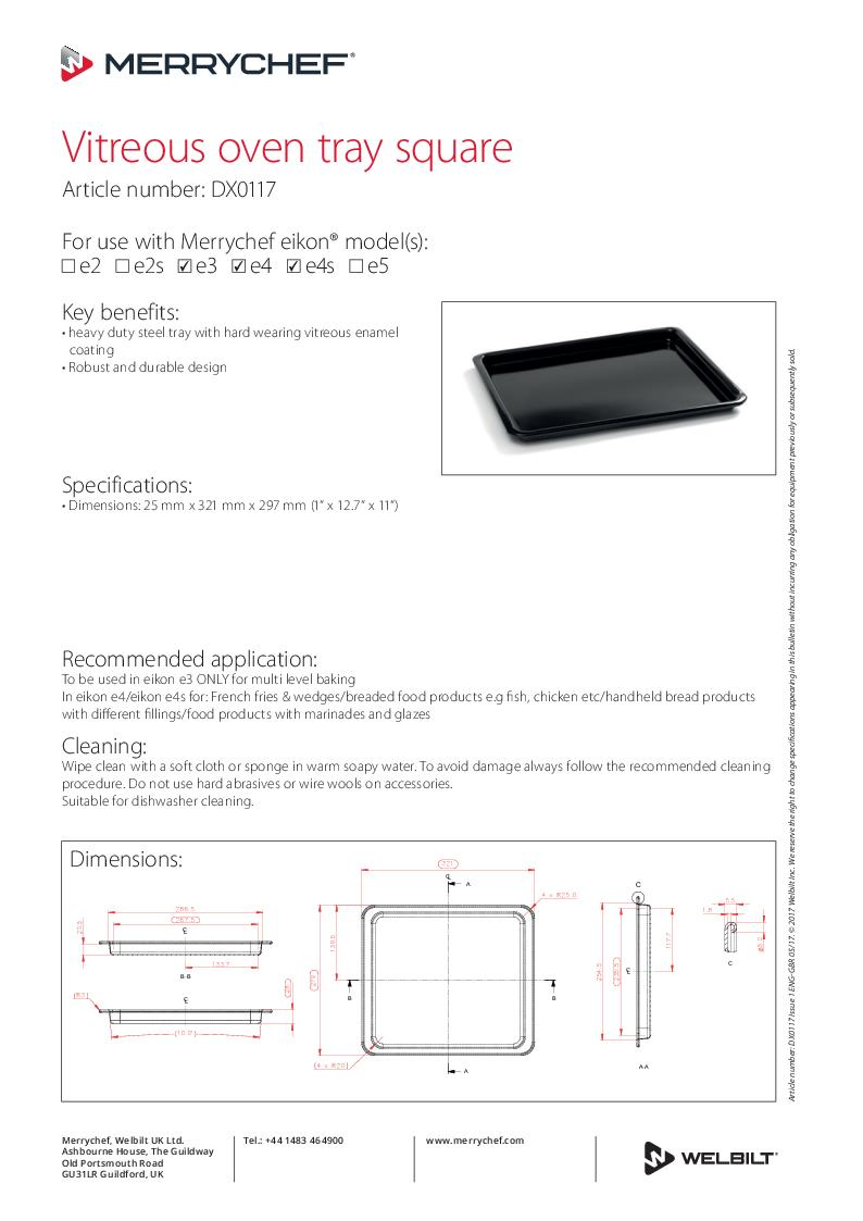 medium resolution of vitreous oven tray square dx0117
