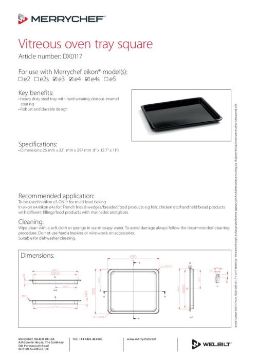 small resolution of vitreous oven tray square dx0117