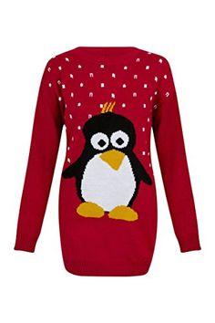 ladies red penguin jumper
