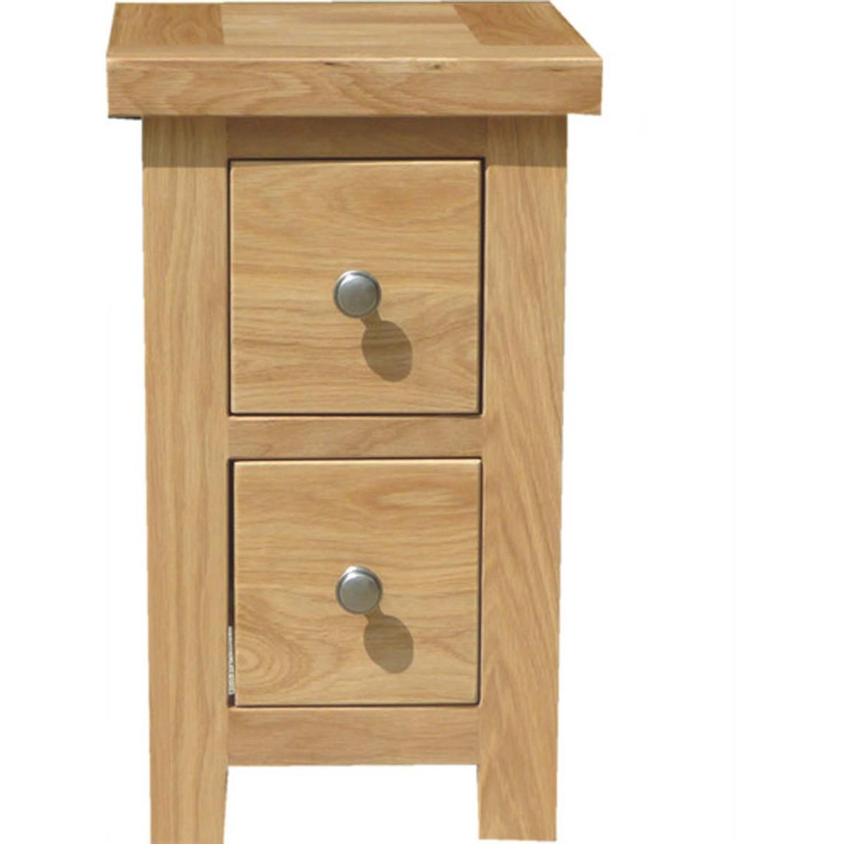 Slim 2 Drawer Bedside Table Bedroom Furniture