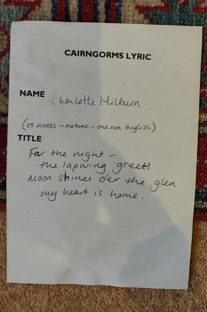 Handwritten Cairngorms Lyric by Charlotte Milburn