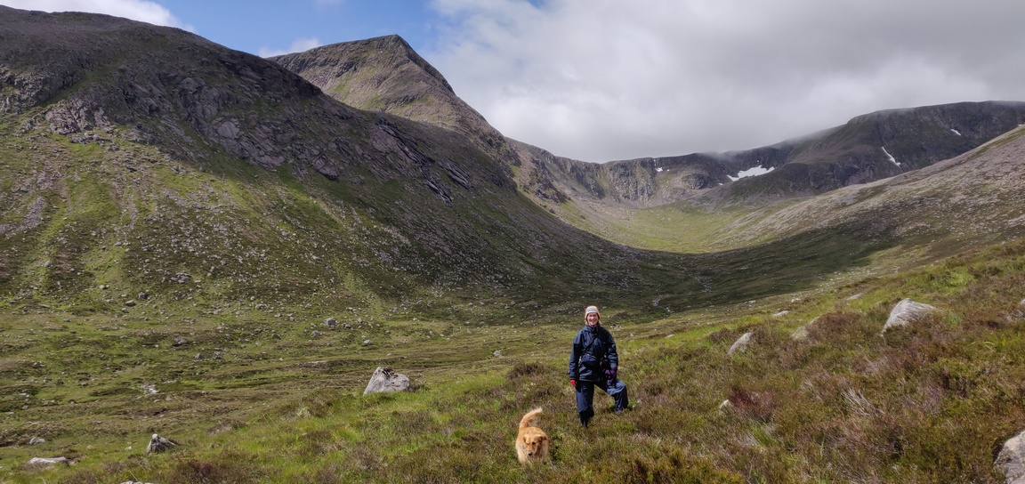 Walker and dog in Garbh Choire
