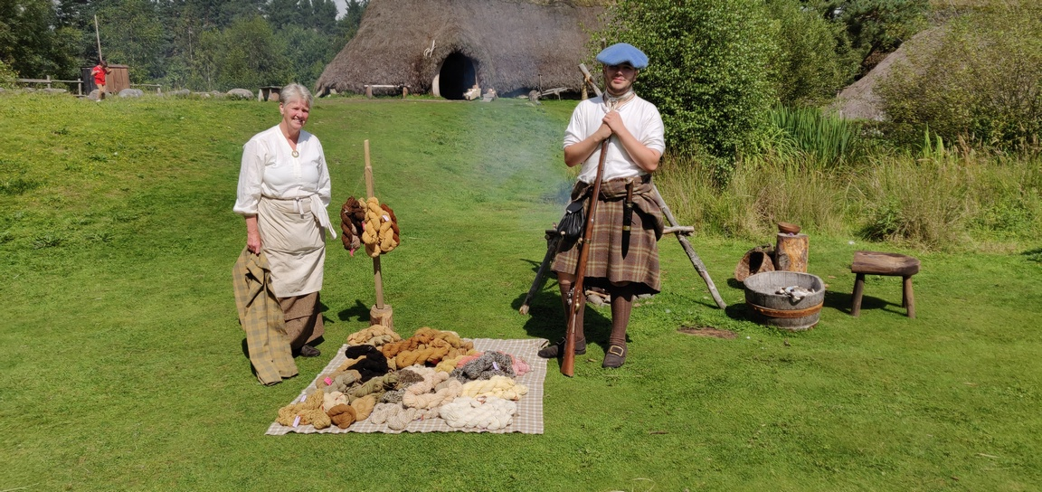 Couple in 18th century Highland dress at Folk Museum