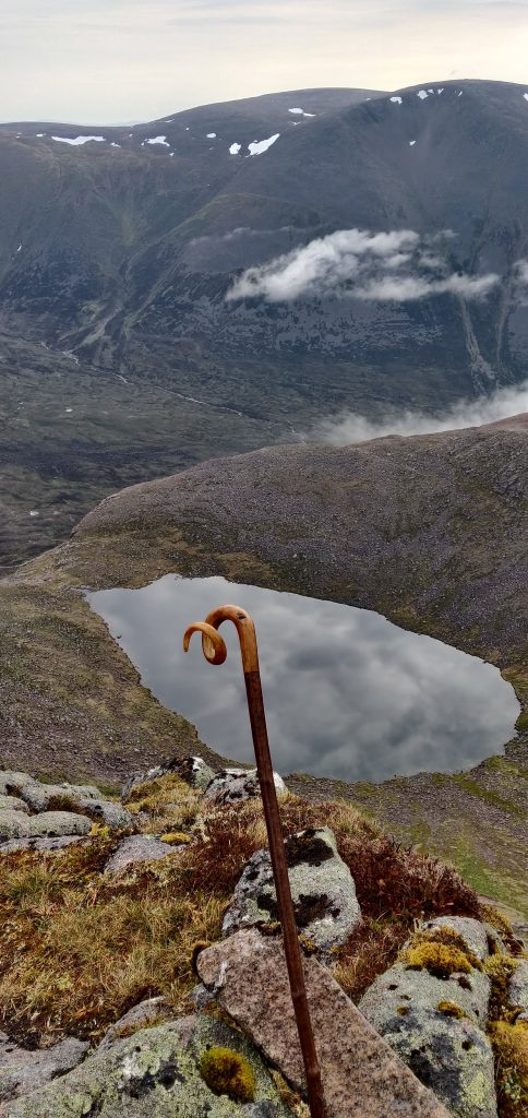 Sheep's horn walking stick on Angel's Peak in the Cairngorms