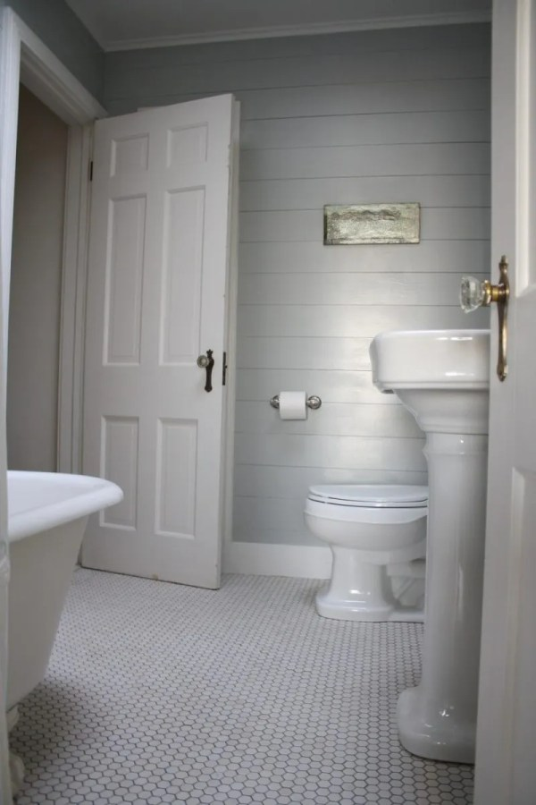 Bathroom with Shiplap Walls