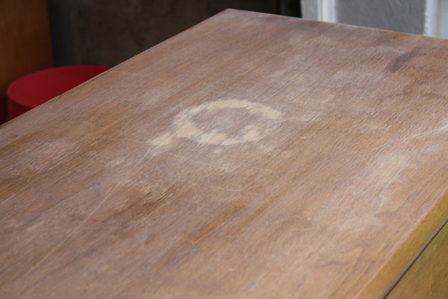 How to refinish furniture with scratches and water damage.
