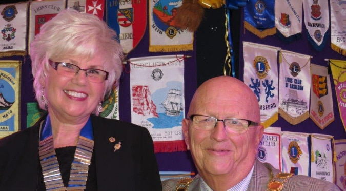 Lions' President Christine Chamberlain and Mayor of West Mersea John May at the Lions Presentation Evening on 5th February