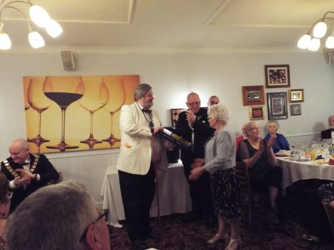 Past President Lion Christine Chamberlain being presented with the Melvin Jones Fellowship Award for Community Service by District Governor District EA Lion Derek Prior.