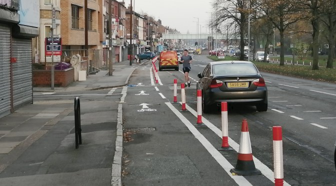 Pop-up cycle lanes in Liverpool